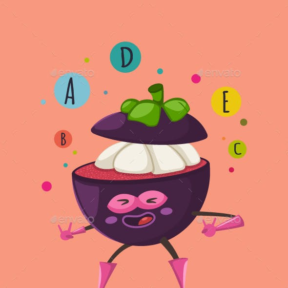 Mangosteen Superhero Fruit Character Vector Cartoon