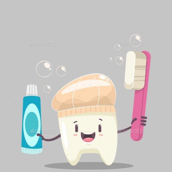 Happy Tooth Character Vector Cartoon Illustration