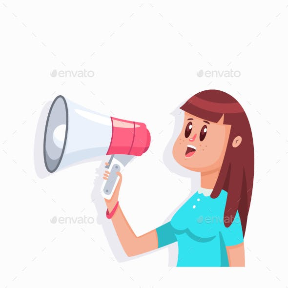 Girl With a Megaphone Vector Illustration