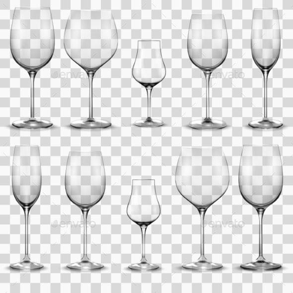 Set of Empty Wine Glasses Wine Glass - Food Objects