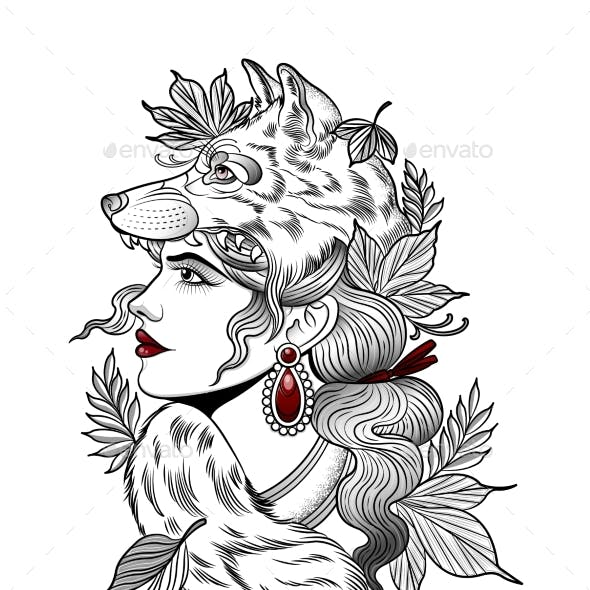 Hunter Girl in the Mask of a Gray Wolf