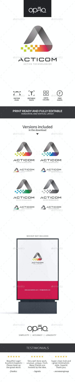 A Letter Colorful Pixel Logo - Letters Logo Templates