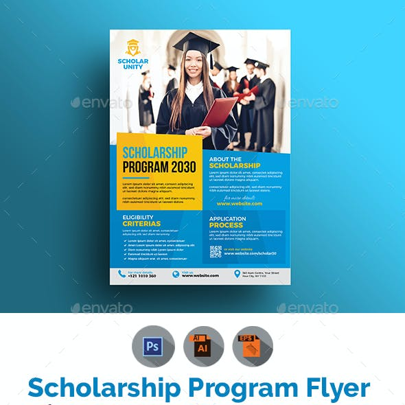 Scholarship Flyer Graphics Designs Templates