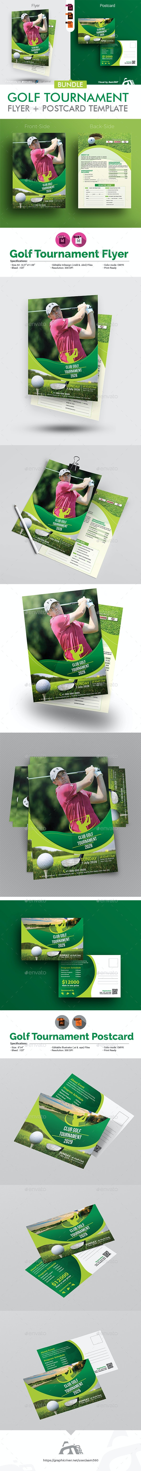 Golf Tournament Flyer with Rollup Bundle - Sports Events