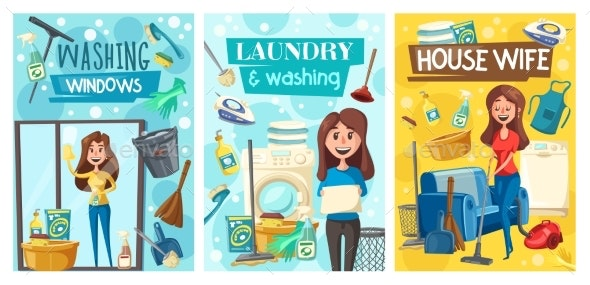 Home Cleaning Service, Laundry - People Characters
