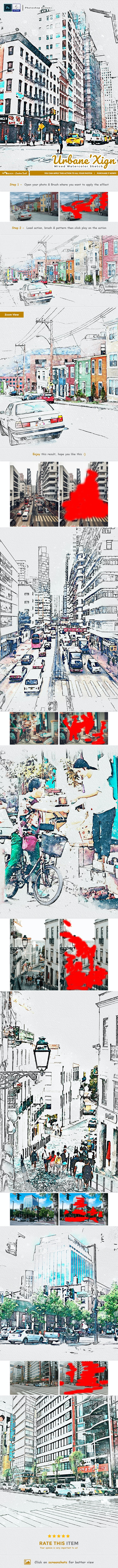 UrbaneXign - Mixed Watercolor Sketch - Photo Effects Actions