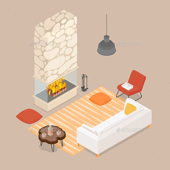 Isometric Living Room with Fireplace