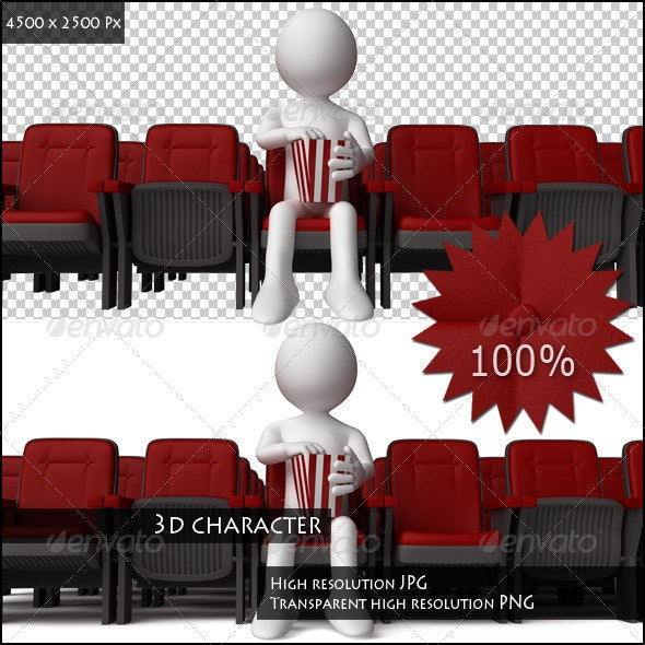 3D Human in the Cinema Eating Popcorns - 3D Renders Graphics