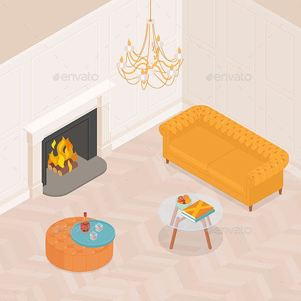 Isometric Luxurious Living Room