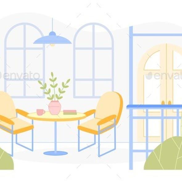 Cartoon Home, Restaurant, Hotel Furnished Veranda.