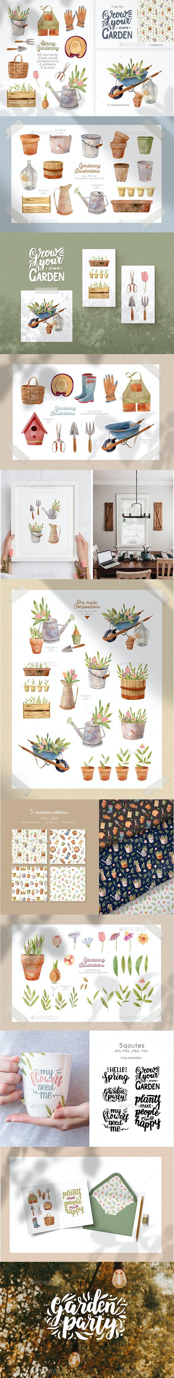 Gardening Tools Clipart - Illustrations Graphics