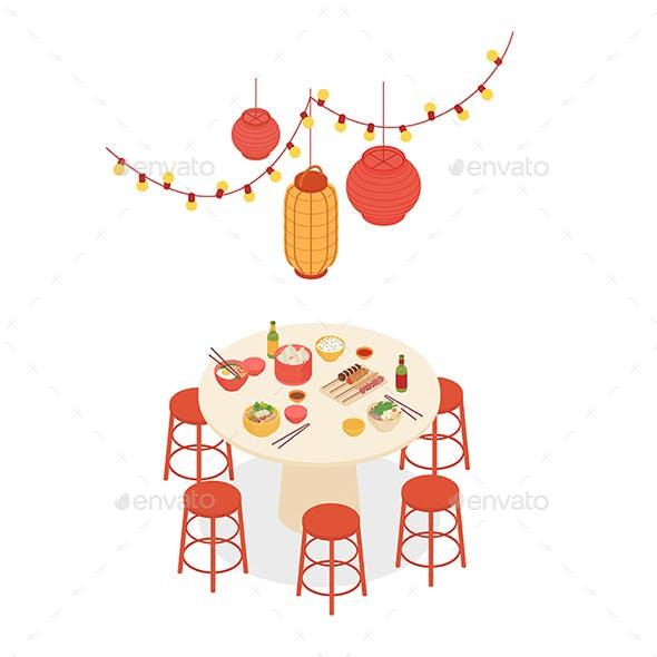 Isometric Asian Restaurant