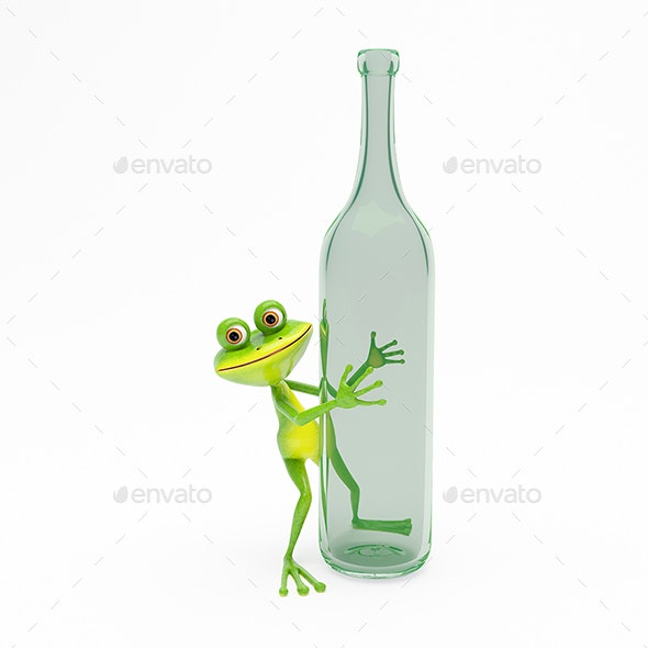3D Illustration Green Frog with a Green Bottle - Animals Illustrations