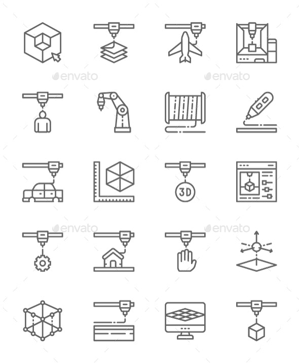 Set Of 3D Printing Line Icons. Pack Of 64x64 Pixel Icons - Technology Icons