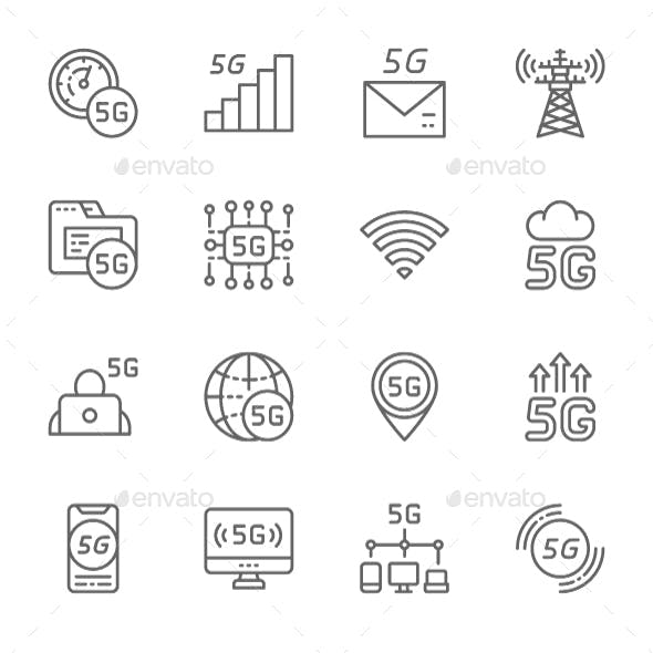 Set Of 5G Internet Line Icons. Pack Of 64x64 Pixel Icons