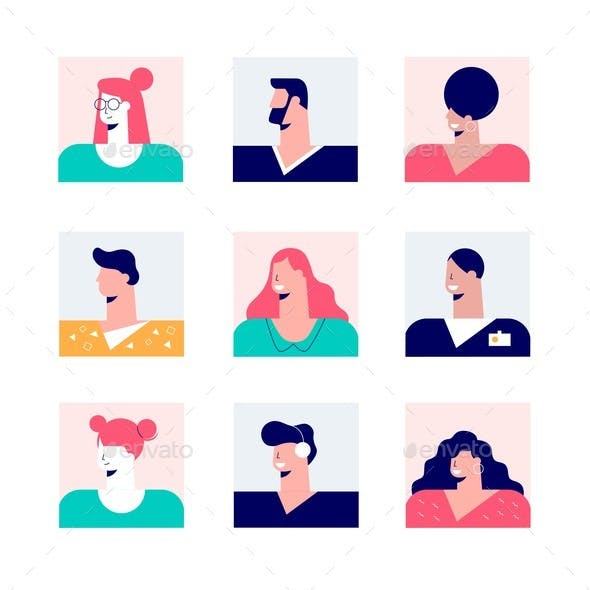 Set of Nine Square Avatar of Casual Modern People