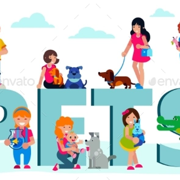 Pets Domestic Animals with Owners People