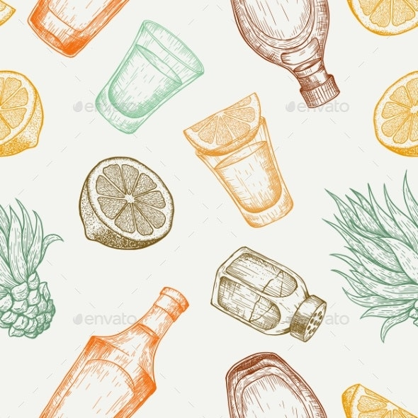 Seamless Pattern of Tequila Glass and Bottle with Salt - Food Objects