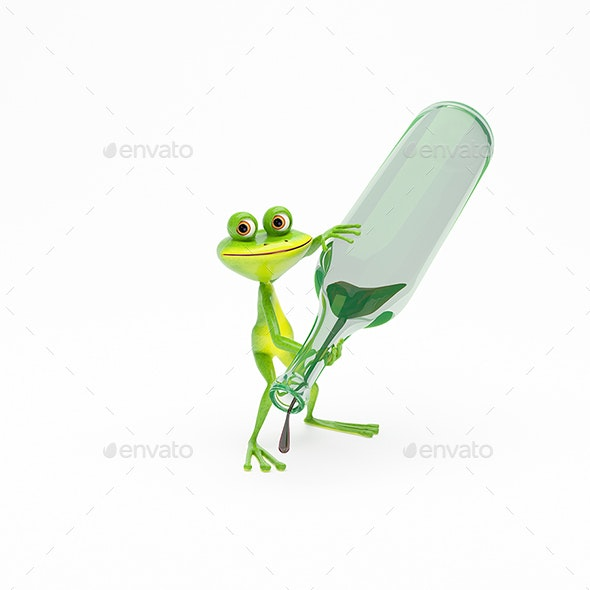 3D Illustration Green Frog with a Green Bottle with Wine - Animals Illustrations