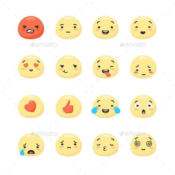 Collection of Round Yellow Smiley Faces Expressing