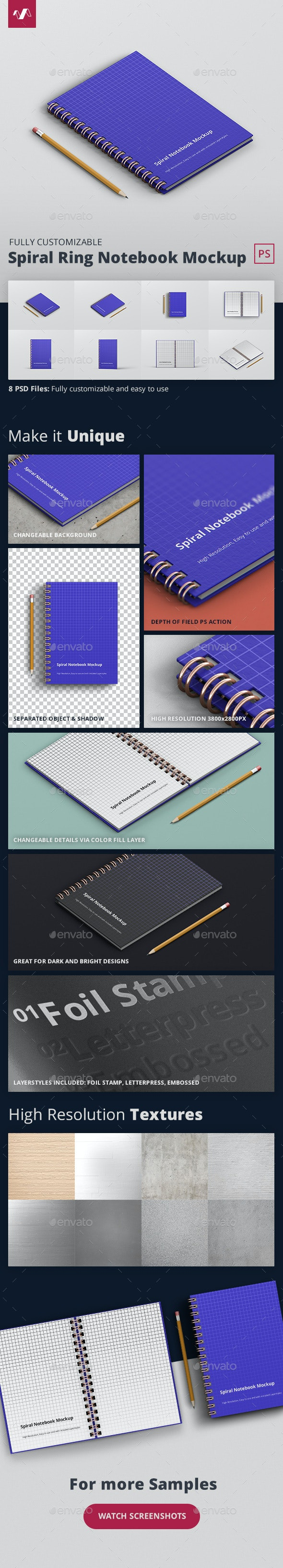 Spiral Ring Notebook Mockup - Books Print