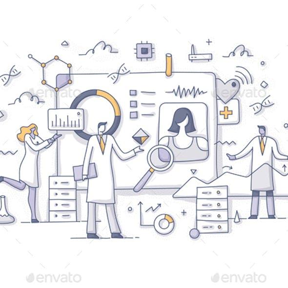 Big Data in Healthcare Concept Doodle Illustration