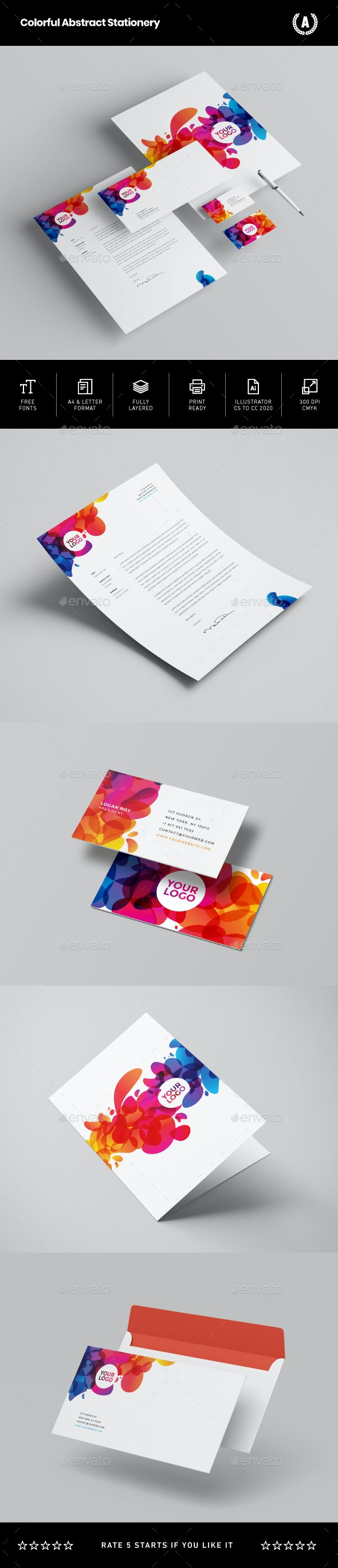 Colorful Abstract Stationery - Stationery Print Templates