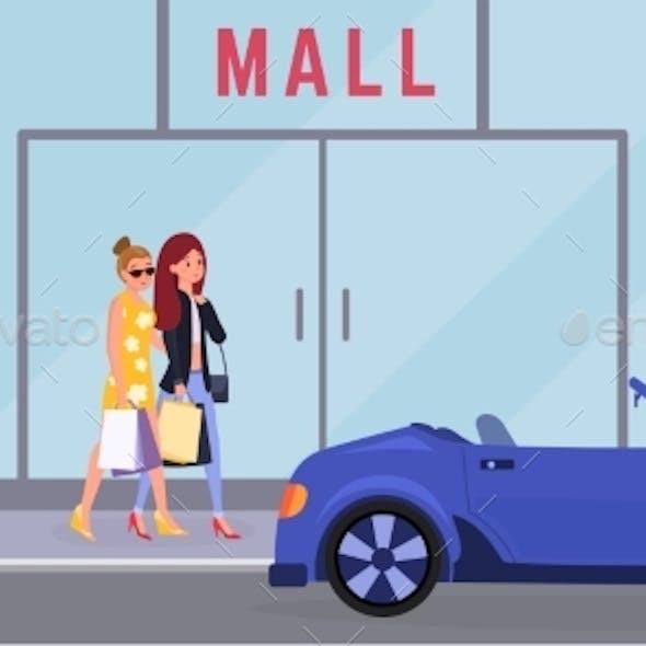 Women Going To Mall Vector Illustration. Elegant