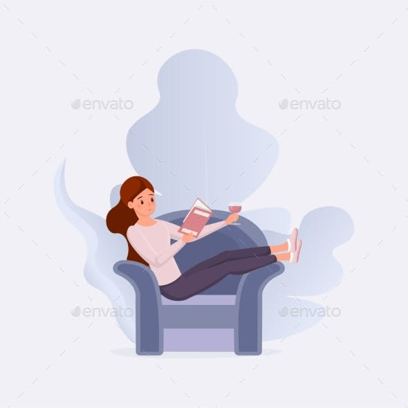 Book Lovers Relax Flat Vector Illustration. Young