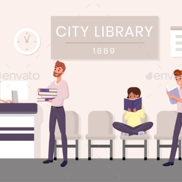City Library Visitors Flat Vector Illustration