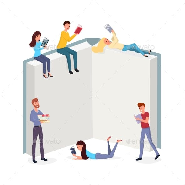 Smart People Reading Books Flat Illustration. Men