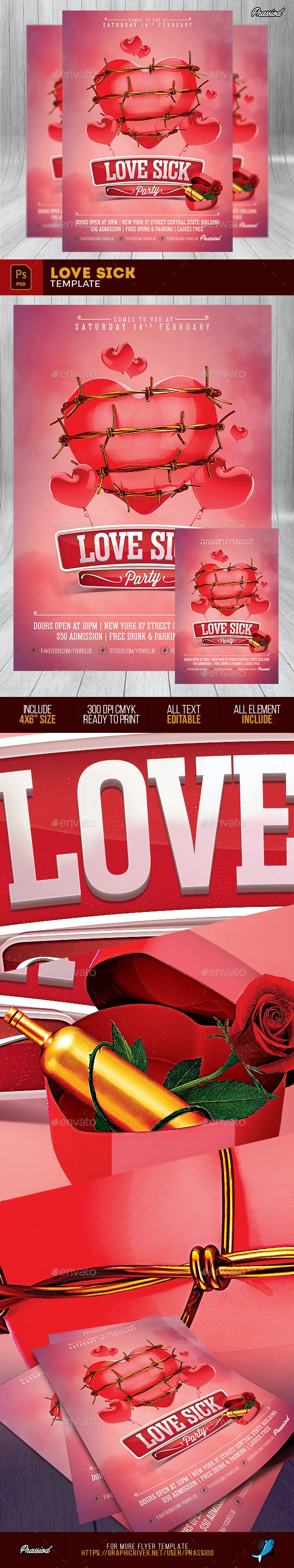 Love Sick Flyer Template - Clubs & Parties Events