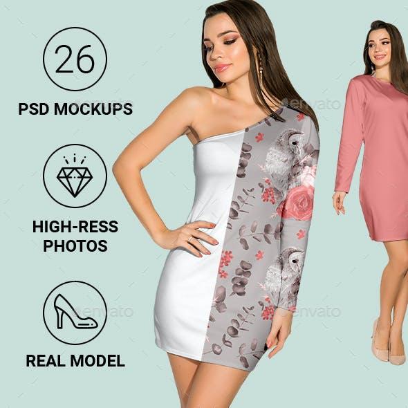 Female Dress Mockup Set for Pattern Design Presentation