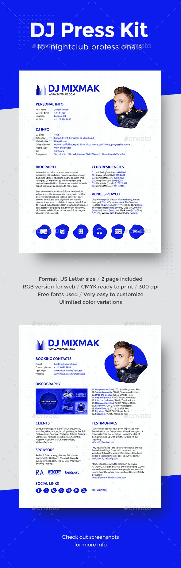 MixMaker - DJ Press Kit / Resume / Rider Template - Resumes Stationery