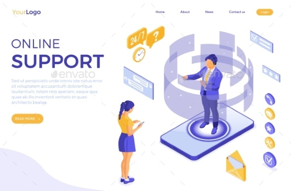 Isometric Online Customer Support - Communications Technology