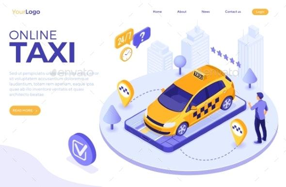Online Taxi Isometric Concept - Miscellaneous Vectors