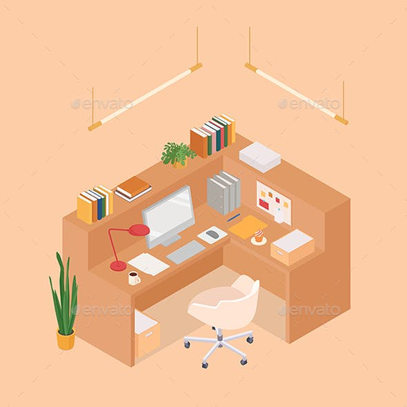 Isometric Office Cubicle