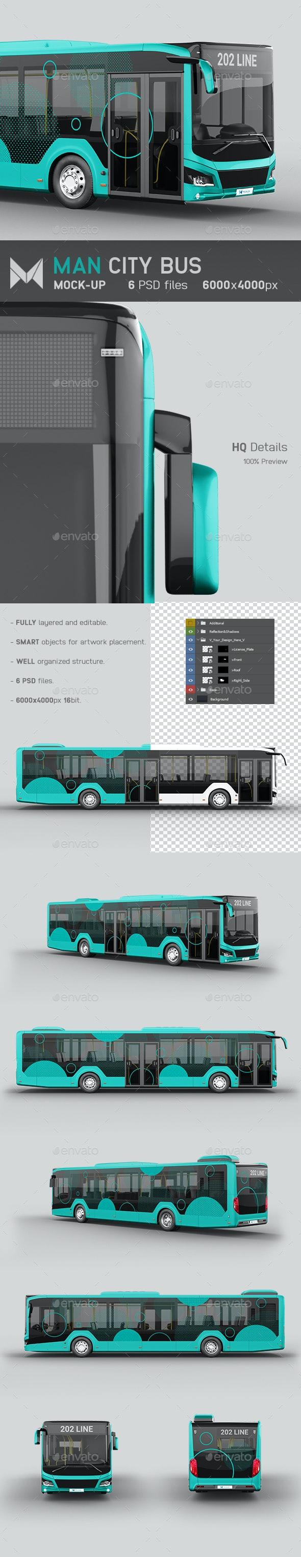 Man City Bus Mockup - Vehicle Wraps Print