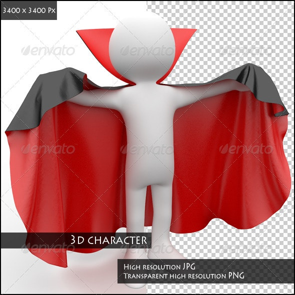 3D Human Dressed in a Red and Black Cape - 3D Renders Graphics