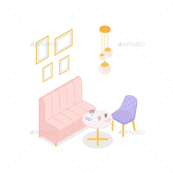 Pastel Isometric Cafe