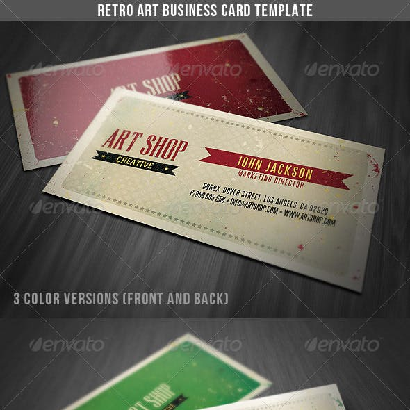 Retro Art Business Card Template