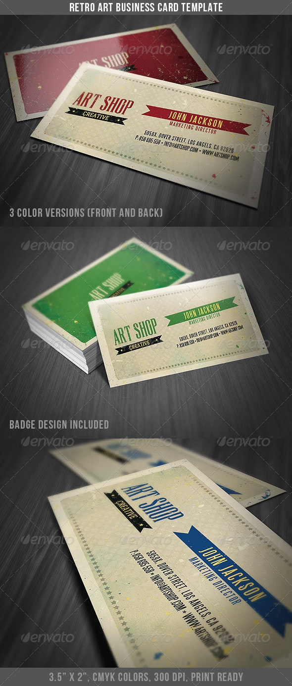 Retro Art Business Card Template - Retro/Vintage Business Cards