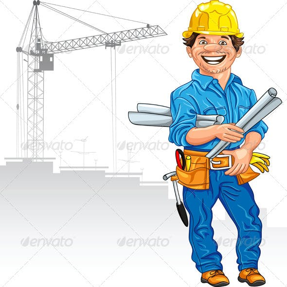 Vector Cheerful Engineer Builder