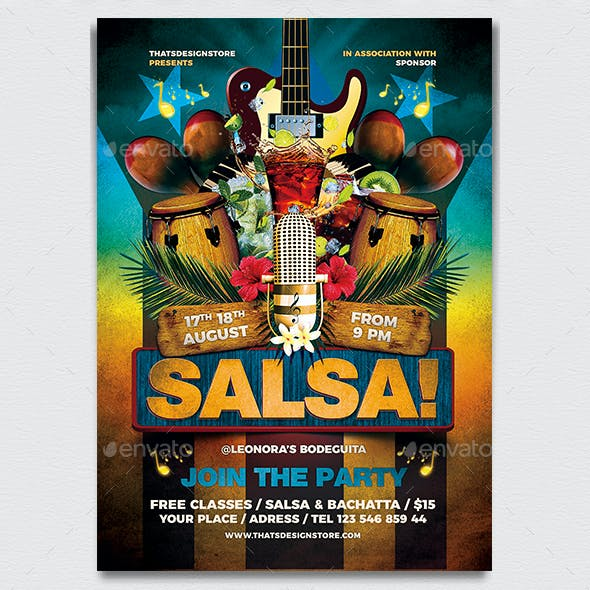 Cuban Live Salsa Flyer Template V1