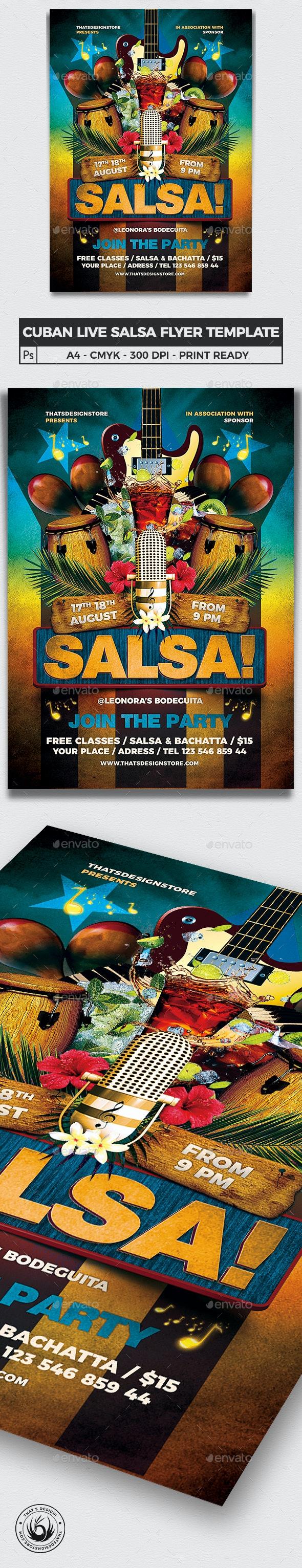 Cuban Live Salsa Flyer Template V1 - Concerts Events