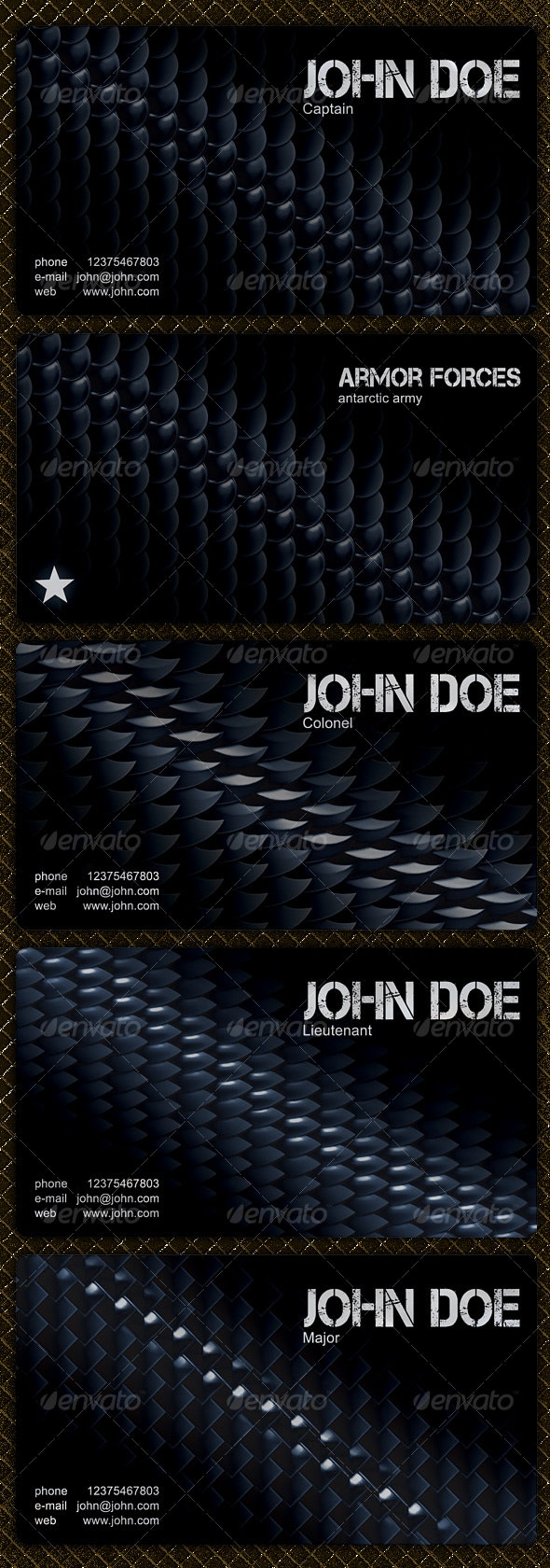 4 Modern Military Business Cards - Industry Specific Business Cards