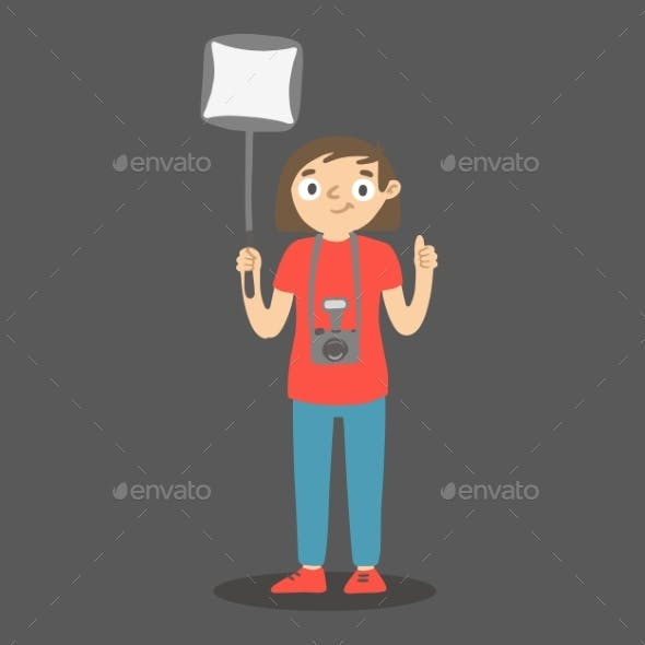 Cartoon Photographer with Softbox and Thumb Up