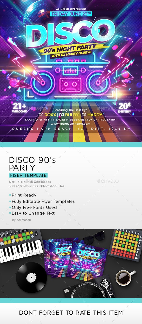 Disco 90's Party Flyer
