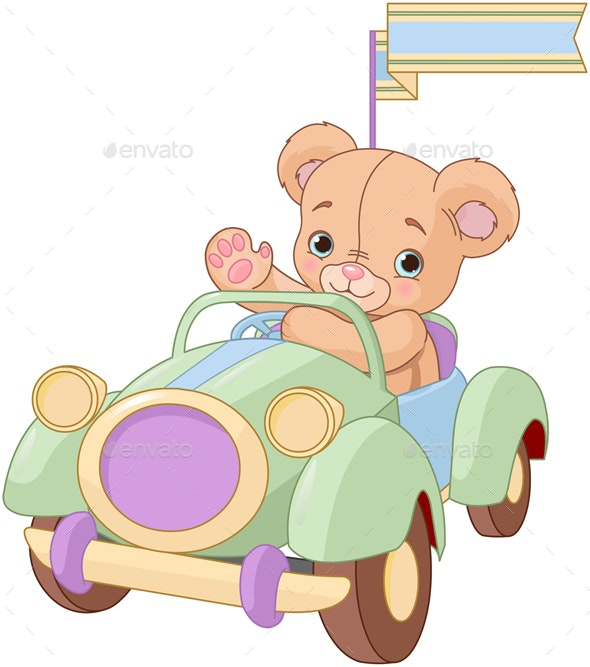 Bear Sitting in Toy Car - Animals Characters