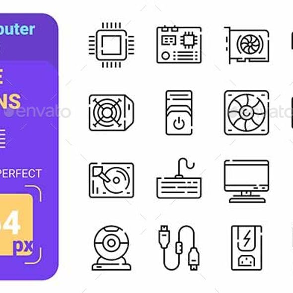 Computer Parts Line Icons Set